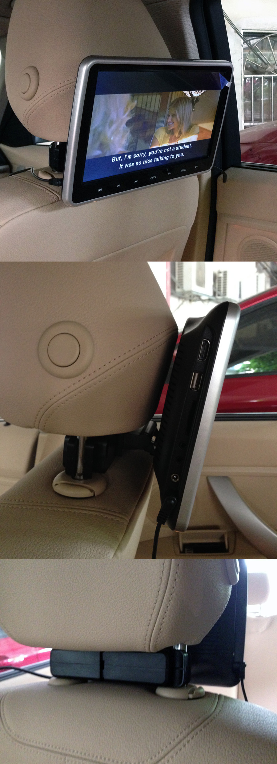 "10.1"" headrest monitor with touch button"
