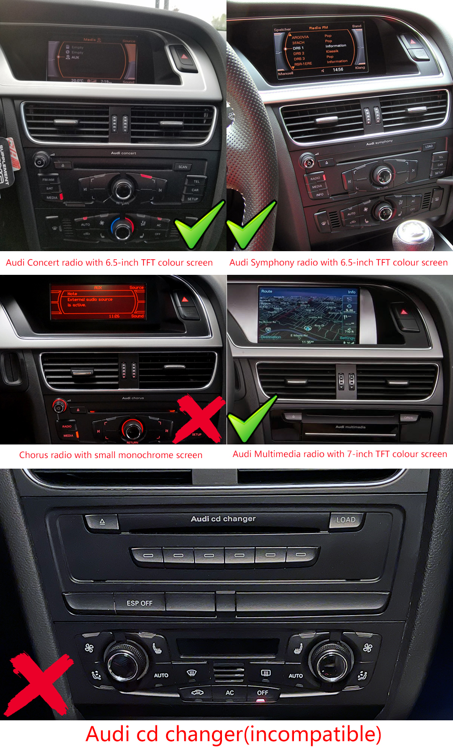 Audi A4 S4 Rs4b8 2008 2016 Aftremarket Navigation Head Unit Aftermarket Radio To Factory Wiring Diagram Volvo A5 B8
