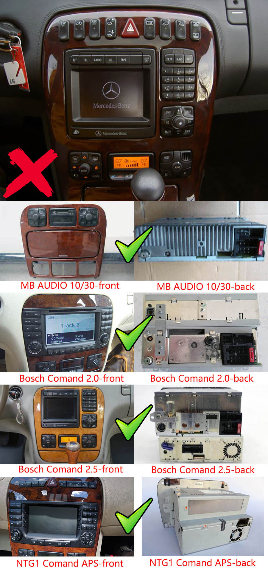 Mercedes-Benz cl w215 s w220 Aftermarket Navigation Player