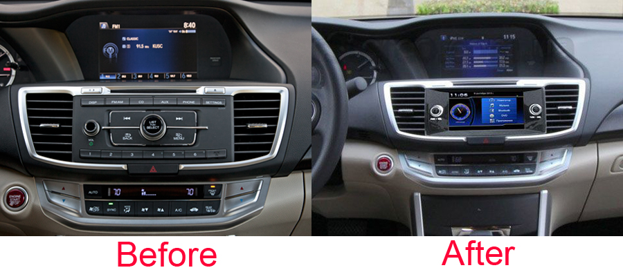 Honda Accord 9th Generation Aftermarket Navigation Head Unit P 897 on car audio system install