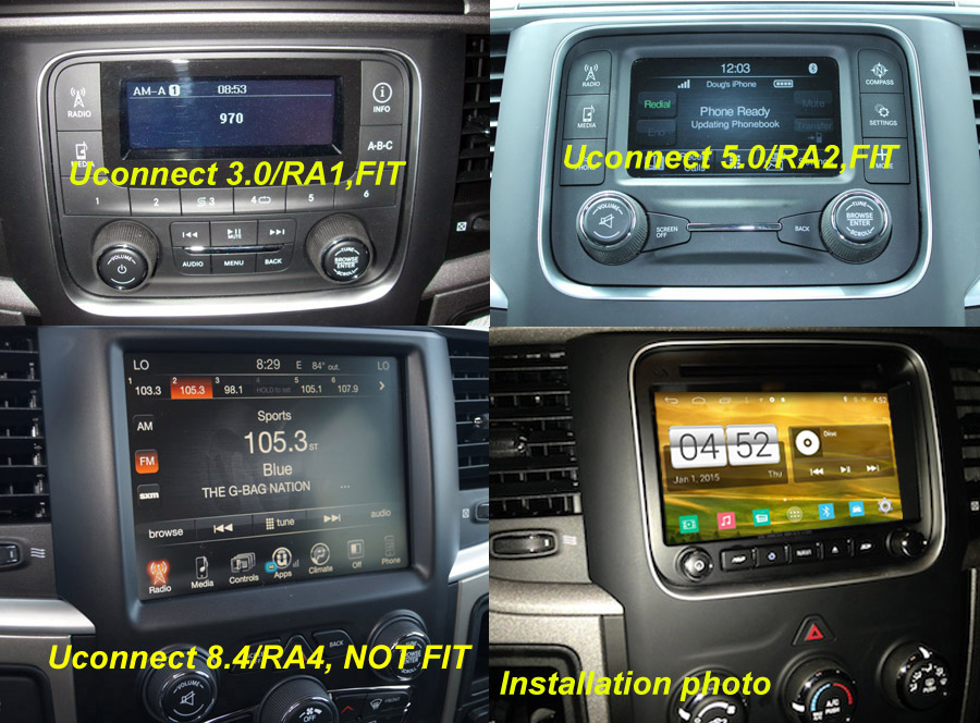 Dodge RAM 1500 2500 3500 Touchscreen GPS Navigation Car Stereo (2013-2016)